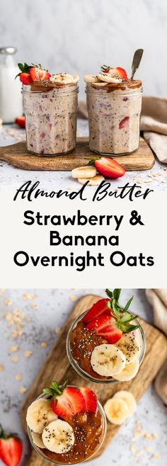 Delicious strawberry and banana overnight oats made with chia seeds, greek yogurt and a drizzle of creamy almond butter. This protein-packed strawberry banana overnight oats recipe is an easy make-ahead breakfast that will keep you full and satisfied! Clean Breakfast, Gourmet Breakfast, Mexican Breakfast Recipes, Breakfast Time, Healthy Breakfast Recipes, Brunch Recipes, Healthy Recipes, Breakfast Pizza, Breakfast Cookies