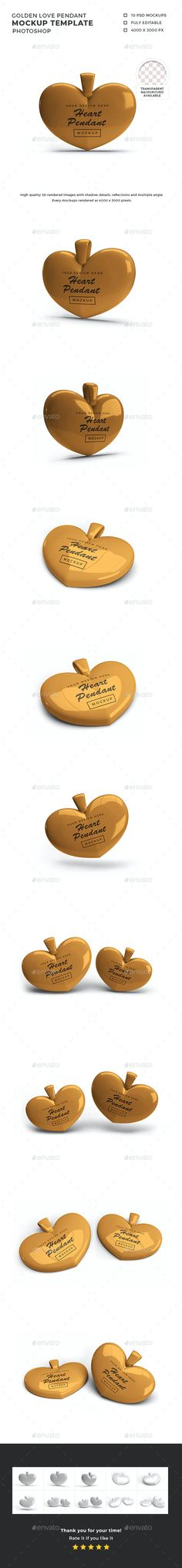 Golden Love Pendant Mockup Template by DendySign | GraphicRiver