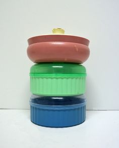 Vintage Powder Boxes  /  Collection of 3 Pretty Round Boxes