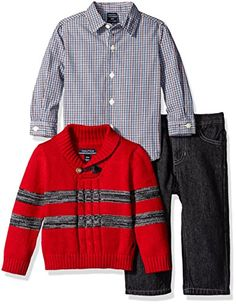 Nautica Baby Three Piece Set with Woven Striped Shawl Sweater Denim Jean Red Rouge 24 Months >>> Check this awesome product by going to the link at the image.-It is an affiliate link to Amazon. #BabyClothing