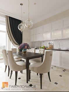 Кухня-гостиная в стиле американской неоклассики