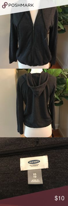 No rain no flowers Excellent condition Old Navy dark gray hoodie sweater size XS. Old Navy Sweaters
