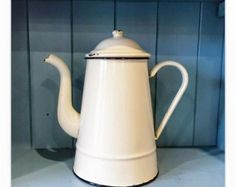 Original french vintage enamel coffee pot with hand painted hen  Small  Colour: Cream  Measurements (approx) Item No. E065  Full/Mix & Match Collections available on request