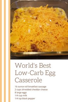 Get ready for the world's best (and easiest) low carb breakfast casserole! Get ready for the world's best (and easiest) low carb breakfast casserole! Low Carb Breakfast Casserole, Low Carb Breakfast Easy, Sausage Breakfast, Breakfast Recipes, Egg Casserole, Breakfast Ideas, Dinner Recipes, Dessert Recipes, Brunch Casserole