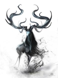 Ethereal / h-abstrait / déité / cerf Mythical Creatures Art, Mythological Creatures, Magical Creatures, Fantasy Creatures, Creature Concept, Creature Design, Animal Drawings, Amazing Art, Fantasy Art