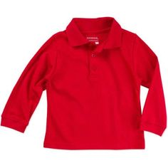 George Toddler Boy or Girl Unisex School Uniform Long Sleeve Sleeve Polo Shirt, Size: 5 Years, Red