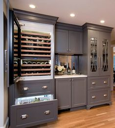 Paint color is Kendall Charcoal by Benjamin Moore. Traditional Kitchen Reno Ideas - Home Bunch Interior Design Ideas Kitchen Bar, Kitchen Remodel, Kitchen Design, Kitchen Decor, Traditional Kitchen, Kitchen Wine Fridge, Bars For Home, Home Bar Designs, Kitchen Cabinets