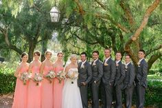 Photography of Jacob Willis Christin Willis - Tres Chic Affairs - Rancho Bernardo Inn- Splendid Sentiments Flowers - Coral - Blush - Mint - Wedding - grey suits- bridal party style Coral Bridesmaid Dresses, Bridesmaids And Groomsmen, Wedding Bridesmaids, Peach Dresses, Bridesmaid Color, Groomsmen Suits, Blush Mint Wedding, Wedding Grey, Summer Wedding