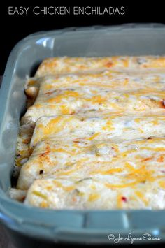 Easy Chicken Enchiladas: Cooked chicken meat, heavy whipping cream, salsa, flour tortillas, and colby jack cheese.  I mean seriously. How easy is that?