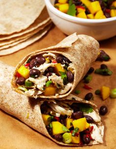 Black Bean, Mango and Chicken Wrap