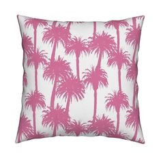 Cali Pink Pillow Gail Wright at Home A tropical palm tree silhouette print perfect for bringing a burst of summer into your home decor