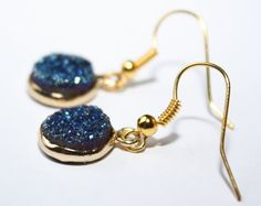 Druzy Earrings Druzy Gold Earrings Blue door PoppyKittenDesigns
