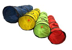 OMNI Kitty Cat Play Tunnel Pet Toy - Four Exit Holes - 4 Feet Long - Blue -- Details can be found by clicking on the image.