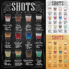 Set of Shots Menu — Vector EPS #shot #espresso • Available here → https://graphicriver.net/item/set-of-shots-menu/9023447?ref=pxcr