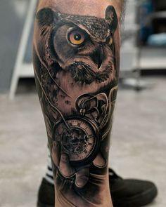 Resultado de imagen para tattoo buho reloj