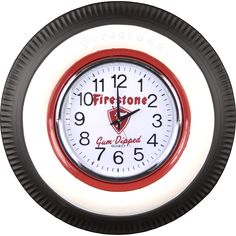 Vintage clocks in classic tire themes are excellent gifts for automobile lovers and collectors. Firestone Tires, Old Garage, Old Tires, Old Ads, Poster Prints, Posters, Vintage Fashion, Miniatures, Automobile