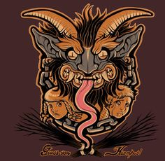 The Krampus represent the dark side of the holidays. Learn about the terrifying Krampus and their role in yuletide traditions. Bad Santa, Saint Nicholas, Satan, Mythology, Pop Culture, Lion Sculpture, Creatures, Art Prints, Drawings