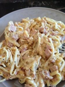 Flavorful, rich, creamy and HEALTHY -  Ham Tetrazzini Recipe - perfect for LEFTOVER HAM - only 298 calories