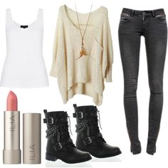 A fashion look from March 2014 featuring shirt sweater, white tank and skinny jeans. Browse and shop related looks. Teenage Girl Outfits, Teen Fashion Outfits, Teenager Outfits, Fall Outfits, Summer Outfits, Outing Outfit, Fandom Outfits, Cute Casual Outfits, Looks Vintage