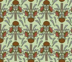 Waratahs on pale green fabric by su_g on Spoonflower - custom fabric