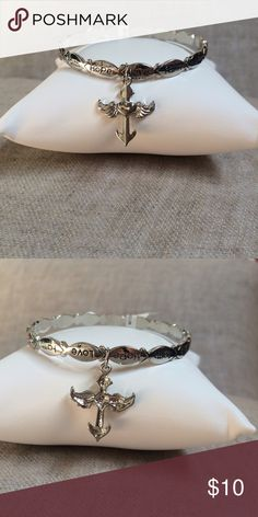 """Silver Bangle Inscribed Angel Bracelet NWOT Bangle composed of connected fish symbols with """"Faith"""", """"Hope"""", and """"Love"""" inscribed all the way around and an Angel charm.  A beautiful statement of faith.                   BUNDLE AND SAVE Jewelry Bracelets"""