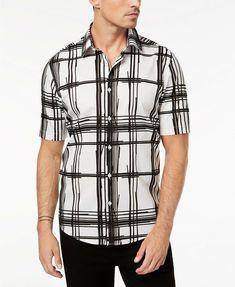 Alfani Men's Regular Fit Bold Broken Plaid Short Sleeve Button Down Shirt, L #Alfani #CasualTravelWorkwear Mens Button Up, Casual Button Down Shirts, Casual Shirts, Button Up Shirts, Black And White Man, Plaid Shorts, Henley Shirts, Men Casual, Print Button
