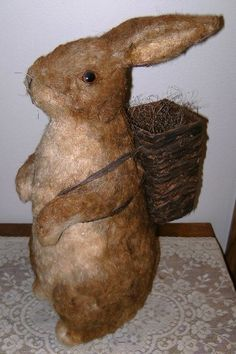 Vintage Straw Easter Bunny