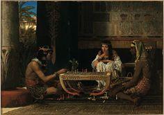 "Podemos observar en ""Jugadores de ajedrez"" de Sir Lawrence Alma-Tadema de 1865"