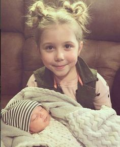 Cute little Aubree with her baby brother.