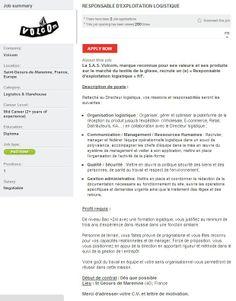 Responsable d'exploitation Logistique at Volcom #career #sportjob #jobsearch #sportyjob