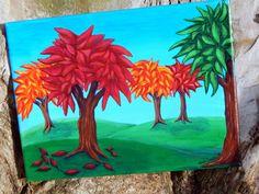 Autumn Trees  Original Acrylic Painting  Fall  by HeartsAndKeys, $55.00- SOLD