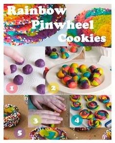 "This would be fun! rainbow-pinwheel-cookies...could use less ""Easter-y"" colors for different occasions"