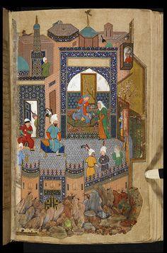 Nushabah recognises Iskandar from his portrait Khamsah (Quintet) of Nizami Herat, Bihzad British Library Add. Islamic Paintings, Iranian Art, Oriental, British Library, Sacred Art, Illuminated Manuscript, Islamic Art, Book Art, Artwork