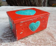 Tin Punch Trinket Box     Red and Turquoise Tin Punch by nenafaye
