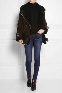 RAG & BONE Mid-rise skinny jeans EQUIPMENT Oscar cashmere turtleneck sweater ACNE STUDIOS Velocite shearling biker jacket ALEXANDER WANG Prisma embossed leather and suede shoulder bag RAG & BONE Harrow leather biker boots