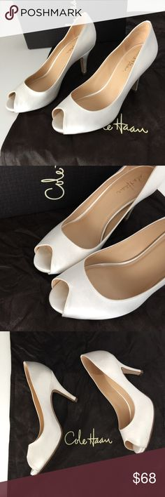"Cole Haan Satin Nike Ceci Air Open Toe Pump White Italian silk satin wedding pump 3"" heel.  * Nike Air cushioning reduces shock and distributes pressure as you walk * Luxurious, dyeable silk satin upper. * Soft kidskin lining. * Fully padded. * Concealed NIKE AIR® technology in the heel and forepart for added cushioning. * Leather sole. **lightly worn once. Cole Haan Shoes Heels"