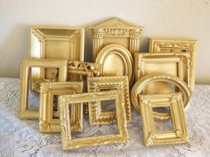 FREE SHIPPING, Small Gold Frames, School Picture, Photo Booth Size, Miniature Gold Ornate Frames, Wedding, Baby Pictures, Ornament
