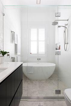 Wet Room Bathroom, Bathroom Renos, White Bathroom, Bathroom Renovations, Family Bathroom, Wet Room Shower, Classic Bathroom, Wet Rooms, Small Bathroom Layout