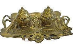Vintage Art Nouveau Brass Inkwell on OneKingsLane.com (Made in the USA)