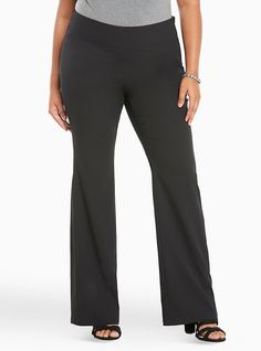 Crepe Slim Flare Pants, DEEP BLACK