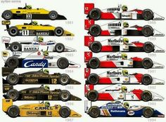 just cool pictures of everything: Senna's racecars through his F1 career