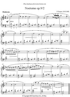 Chopin -  Nocturne Op9, No2 sheet music for Piano