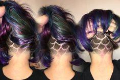 Mermaid undercut oil slick hair