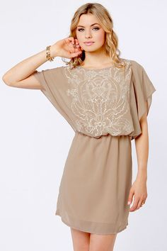 $29 Bait and Stitch Taupe Embroidered Dress at LuLus.com!