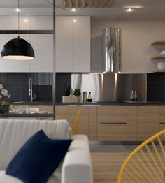 Kitchen-living room on Behance Decor, Kitchen Design Small, House Styles, Kitchen Design, Living Room Kitchen, Kitchen Decor, Interior, Kitchen, Apartment Interior
