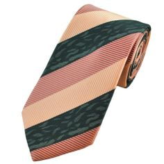 Apricot Pink, Peach Pink & Grey Striped Boys Tie - from Ties Planet UK