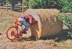 """""""We noticed this unfortunate bicyclist on a country road near Spokane, Washington,"""" writes Grover and Juanita Dobyns of Yucca Valley, California. """"Our hats are off to the clever folks who own this farm. They gave us quite a chuckle."""""""