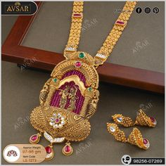 Antique Jewellery Designs, Gold Jewellery Design, Antique Jewelry, Gold Wedding Jewelry, Gold Jewelry, Fine Jewelry, Long Necklaces, Neck Piece, Gold Set