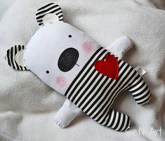 Black and White Striped Handmade Stuffed Teddy Bear Soft Toy