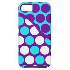 Fun Purple and Teal Polka Dot Wave Pattern iPhone 5 Cases